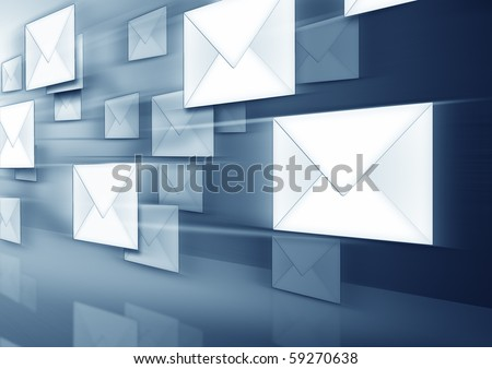 An image of some flying envelopes