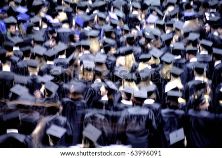 an image of students at graduation ceremony(Motion Blur) - stock photo