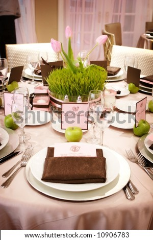 stock photo an image of Table setting at a luxury wedding reception