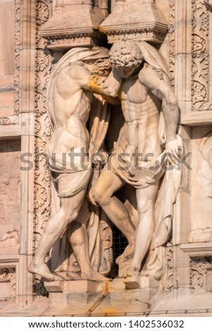 An image of the beautiful statue at Cathedral Milan Italy #1402536032