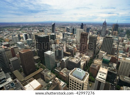 An image of the cityscape of Melbourne, Australia taken from the Rialto tower.