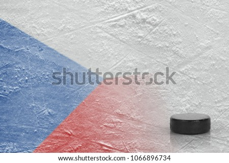 An image of the Czech flag and on ice and a hockey puck. Concept, hockey