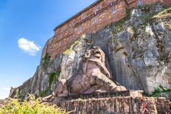 An image of the lion statue of the fortress of Belfort France