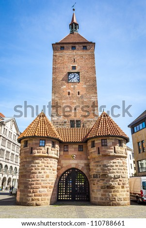 An image of the old clock tower in Nuremberg Bavaria Germany
