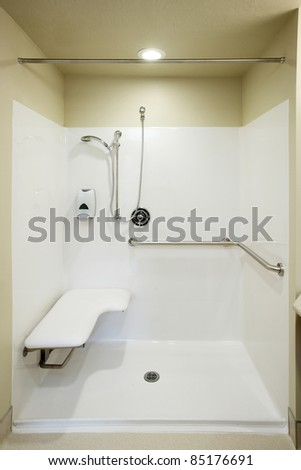 An image of the safety bars, seat and plumbing fixtures in a roll in shower stall