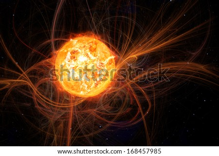 An image of the sun in space