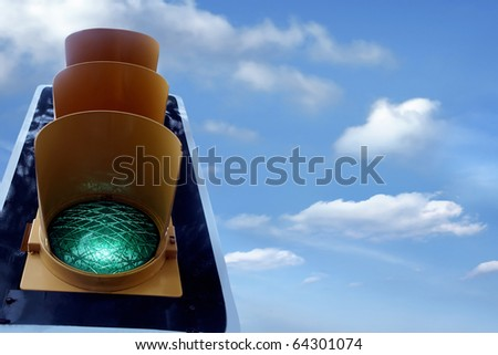 Photo of an image of traffic lights while green light on