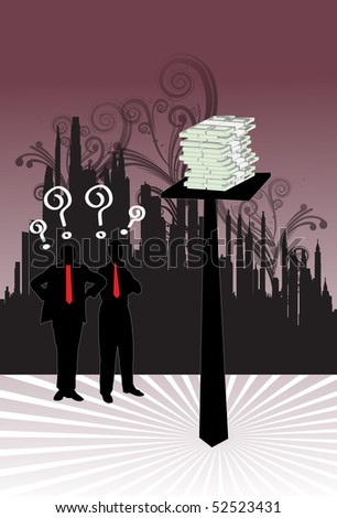 An image of two contemplating businessmen standing next to a pole that has a pile cash and the men are wondering how to get to the cash