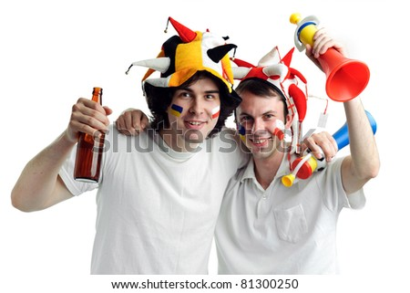 An image of two football fans with a bottle of beer