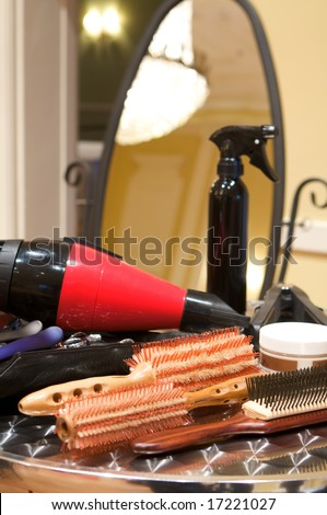 An image of various beauty supplies at a salon