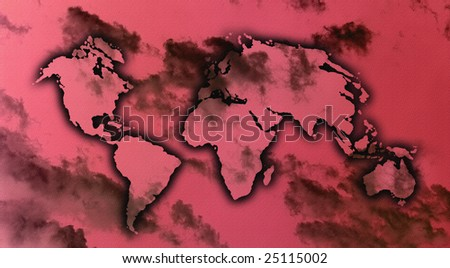 an image of world map on the sky with clouds