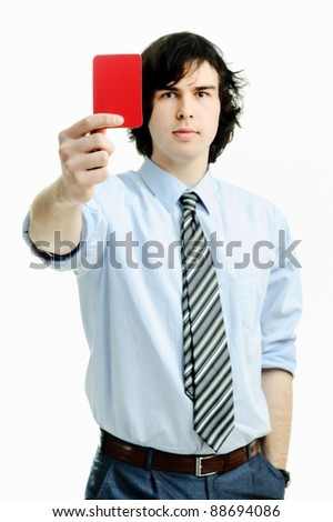 An image of young man with red card