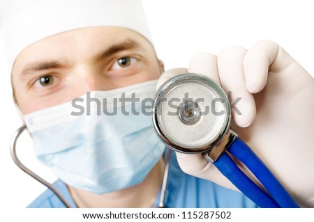 An image professional young doctor with a stethoscope in a hand  on a white background