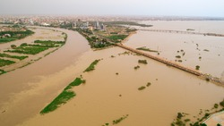 An image showing the size of the Nile River flood that hit the capital, Khartoum