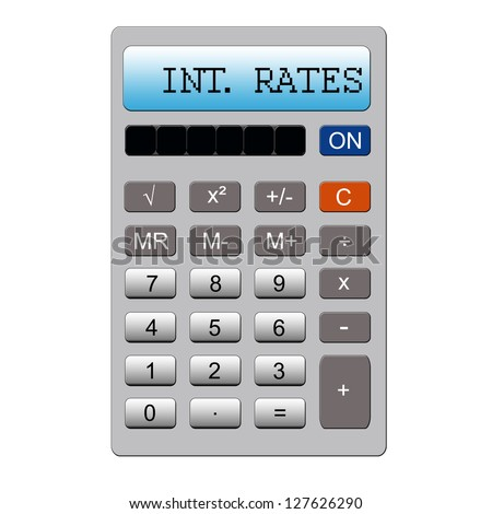An imitation calculator with the word INT RATE written on it making a great concept for interest rates.