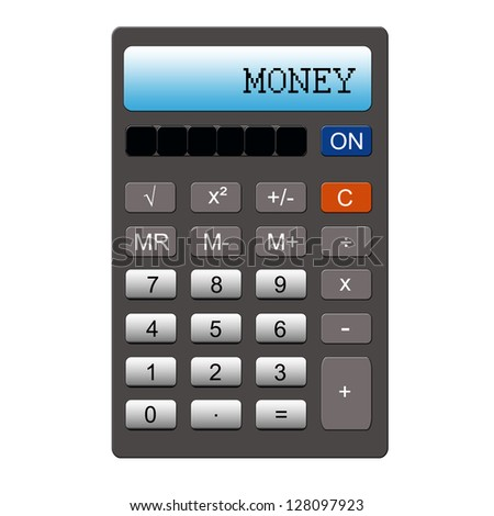 An imitation calculator with the word MONEY written on it making a great concept.