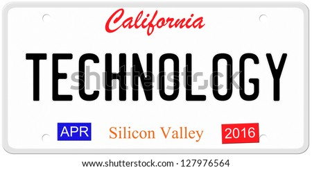 An imitation California license plate with April 2016 stickers and TECHNOLOGY written on it making a great concept.  Words on the bottom Silicon Valley.