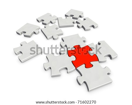 An incomplete puzzle with crucial red piece which is a key for completion isolated on white background