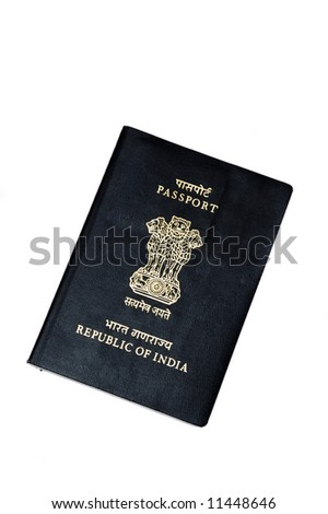 An indian passport isolated on a white background