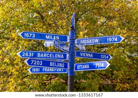 an indication board with the directions of capitals