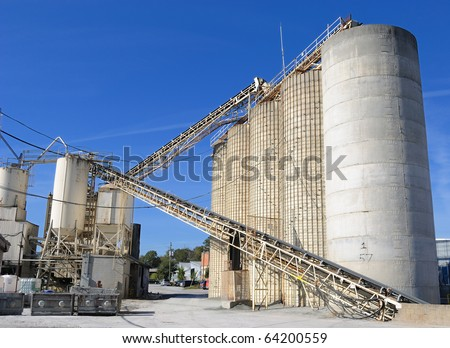 An industrial cement processing facility.