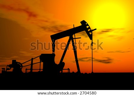 An industrial oil pump under a hot sky - stock photo