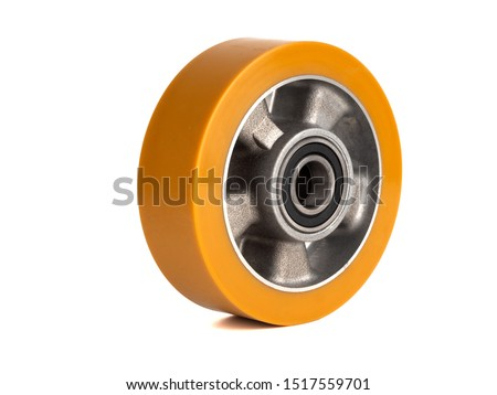 An industrial wheel made of aluminum and polyurethane Stockfoto ©