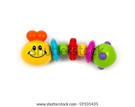 An infants baby toy isolated against a white background