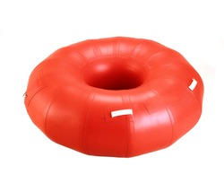 An inflatable air cushion isolated against a white background