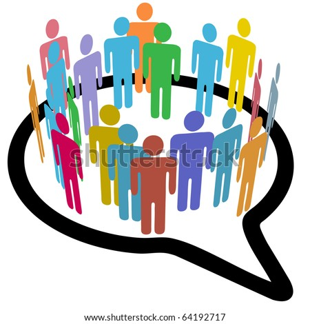 An inner circle of colorful diverse people join to meet in a social media speech bubble
