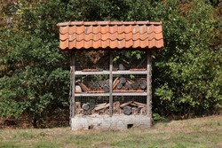 An insect hotel builld at the edge of a forest. Insect hotels are build to house all kinds of insects.