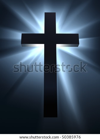 An intense burst of bright light behind a cross, the symbol of Christian religion. - stock photo