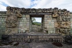 An interior door in Copan ruins, a mayan temple in Honduras
