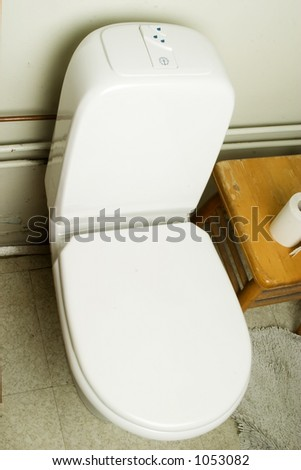 An interior shot of a european bathroom showing the toilet
