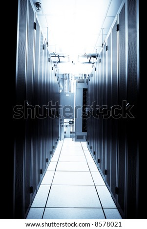 An interior shot of a technology data center