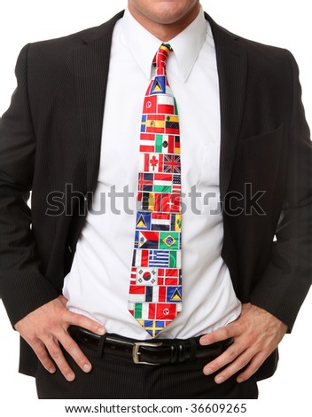 An international business man wearing ties of country flags