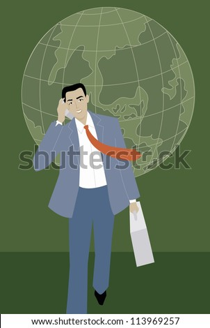 An international businessman talking on his cell phone