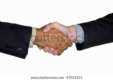 an interracial handshake between a mature caucasian and African-American businessman, isolated on white background