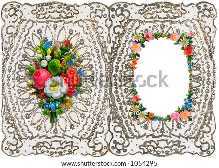 An intricate vintage floral wedding invitation (embossed) and picture frame design - circa 1872 (designed to be folded)