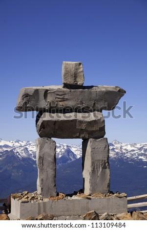 An inukshuk on the peak of Whistler Mountain.