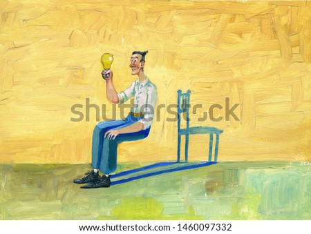 an inventor can imagine what it takes to look at a light bulb surrealist painting conceptual illustration