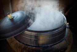 An iron pot covered with steam near Suncheon-si, South Korea