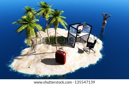 An island with computer and a girl in the sea.