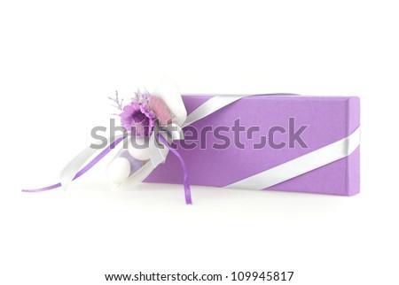 An isoalte wedding favor box on white background