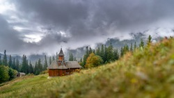 An isolated and small church in the mountains of Romania. Schitul Cerebuc - Cerebuc Monastery, in Ceahlau National Park