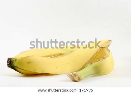 An isolated banana peel, minus the banana.