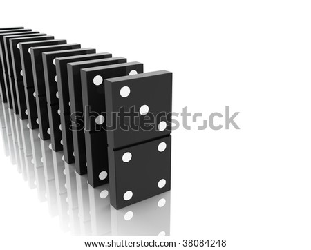 An isolated black domino blocks chain reaction on white background
