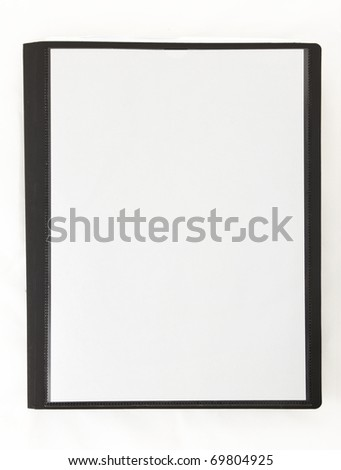 An isolated black 1-inch binder with a blank white cover sheet on an isolated white background.