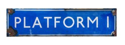 An Isolated Blue Vintage Railway Station Sign