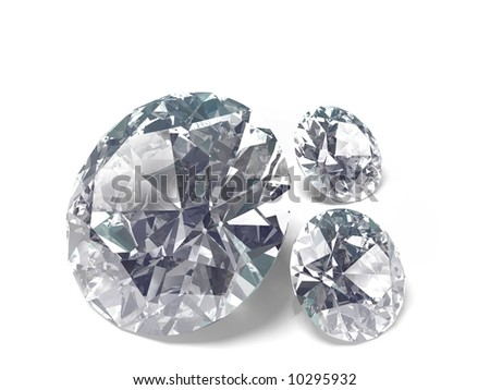 An isolated brilliant cut diamonds on wite background